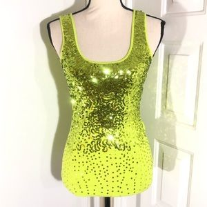 SAY WHAT Ombre Yellow & Green Sequin Tank Top